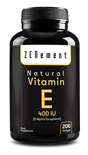 Vitamina E Natural 400 UI (D-Alfa-Tocoferol) | 200 perlas: Suministro para más de 6 meses...
