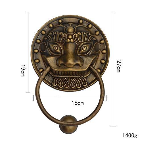 WiaLx Möbelknöpfe Schwere viktorianische Vintage Antik Messing Bronze Löwenkopf Türklopfer für Landhaus oder Moderne Stadthaus Manor Dekoration (Farbe : Antique, Größe : XL)