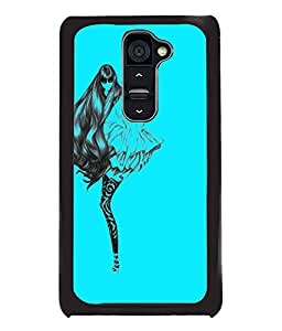 Fuson Blue Girl Back Case Cover for LG G2 - D3812