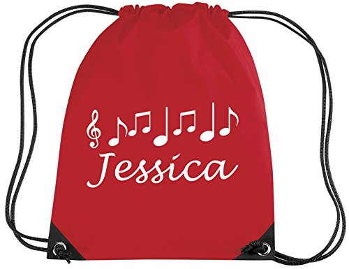 RED PERSONALISED MUSIC BAG with name - Music/PE/Drawsting Bag In Red (PLEASE GO TO ADD GIFT OPTIONS.....ENTER NAME IN FREE GIFT MESSAGE SECTION...AND SAVE)