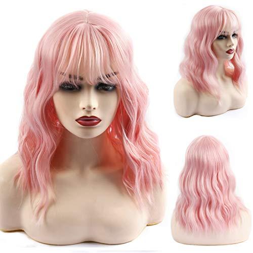 Haar Kostüm De Vil Cruella - Baruisi Perücke Rosa Kurze lockige Bob Perücken für Damen Welle Synthetische Perücke mit Pony - Rosa