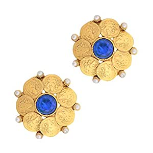 Adiva South Indian Temple Blue Metal Alloy Stud Earrings For Women