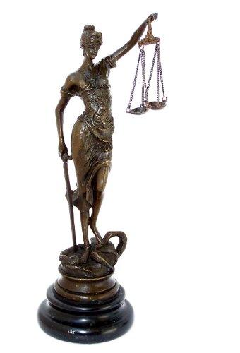Kunst & Ambiente - Kleine römische Bronzefigur - Justitia - mit Schwert + Waage - Echte Bronze - Justitia Kaufen - Bronzefiguren kaufen