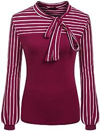 Zeagoo Damen Schluppenbluse Gestreiftes Shirt Blusen Langarmshirt Obertail  Frühling Herbst Hemd 599862b03a