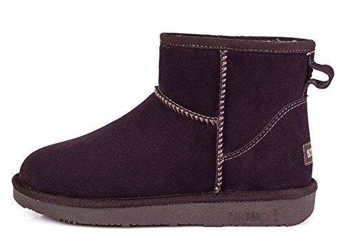 Wealsex Bottes Fourrées Doublée Chaleureux Botte De Neige Basse Classic Mode Uni Couleur Pur Plate Chaussure De Coton Chaussures d'hiver Grande Taille 39 40 Femme Café
