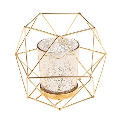 Wanfor 3D Geometrischer Kerzenhalter aus Metall für Hochzeit, Heimdekoration, 3 Farben, Eisen, Gold, Einheitsgröße