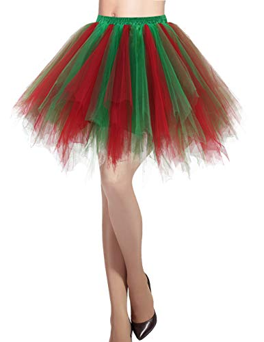 Dresstells Damen Tüllrock 50er Rockabilly Petticoat Tutu Unterrock Kurz Ballett Tanzkleid Ballkleid Abendkleid Gelegenheit Zubehör Green Red M