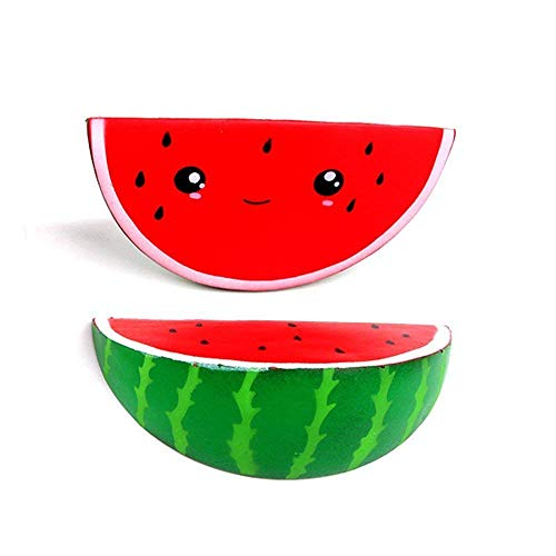 Zecken tocking Squishy Fruit Watermelon Slice Smiley Emoji-Faces Kawaii Squishies Slow Rising Squeeze, 1, 1