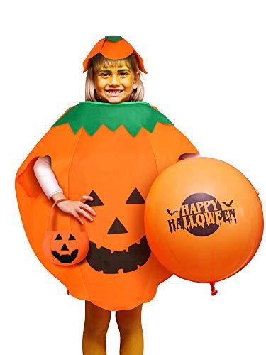 Syhood Halloween Kürbis Kostüm Laterne Gesicht Kürbis Cosplay Kleidung mit Beanie Hut und Candy Taschen für Kinder und Erwachsene (Kind: 50 cm) (Candy Gesicht Kostüm)