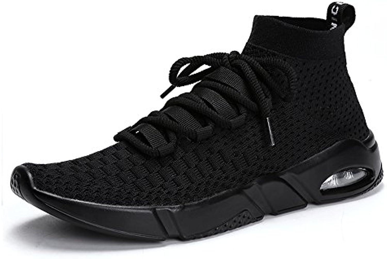 MUOU Männer Schuhe Freizeitschuhe Herren Sneaker Atmungsaktive Mode Turnschuhe Walking Sport Laufschuhe (43  Schwarz)