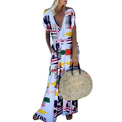 WUDUBE Robe imprimée  Col en V et à Manches Courtes Robe mi-Longue Ample 2019 Robe de Soiree Irrégulière Grande Taille Vintage Robe de Plage