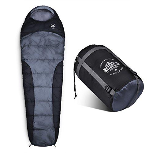 Lumaland Outdoor Schlafsack Mumienschlafsack, 230 x 80 cm, inklusive Packsack, 50 x 25 cm gepackt, grau -