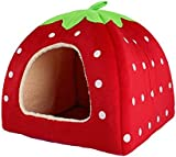 Lovely Strawberry Soft Cashmere Warm Pet Nest Dog Cat Bed Foldable Red
