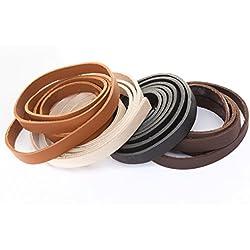 Banda de piel, correa de cuero plano. 1Metros. Ancho/Color: A Elegir., piel, negro, Breite: 10 mm