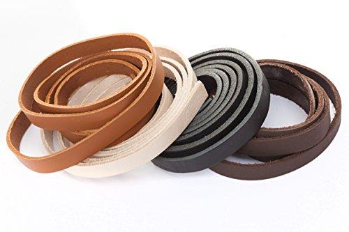 Lederband, Lederriemen Flach 15 x 2 mm. Braun 1 Meter -