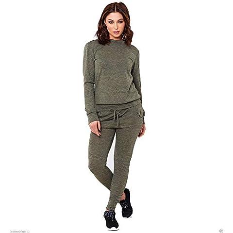 Fashion nuovo donna tinta unita loungewear due pezzi Felpa Joggers pantaloni tuta 8–14