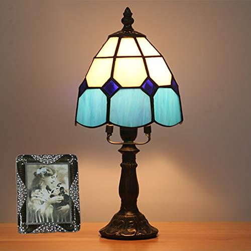 CCSUN Klein Tiffany stil Bett tischleuchten Bett Lampe, Vintage Blue Tabelle licht Für Glasschirm E14 Zink-legierung Tischleuchte 6 farben 12.6in-Blau H:12.6in