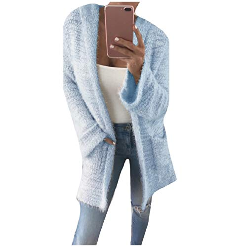 CuteRose Womens Solid-Colored Hoodie Knitted Sweater Mid-Long Cardigan Sky Blue L