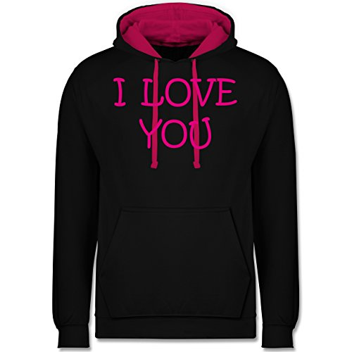 Valentinstag - I Love You - Kontrast Hoodie Schwarz/Fuchsia