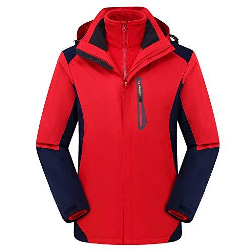MOTOCO Herrenjacke mit Kapuze Winddicht Lässige Sportbekleidung Mantel Outdoor Hoodies Sportjacke mit Kapuze Reißverschluss Jacken(M,Rot)