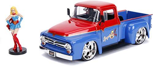 Jada JMF30454 - Figura de camión Ford F-100 con Supergirl (Escala 1:24 1952), Multicolor