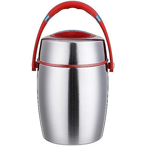 FOODJIA Portátil de acero inoxidable doble tambor cubo vacío, aislado aislado almuerzo caja lonchera lonchera , red ,