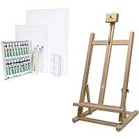 Artina Sydney - Set de pintura - Caballete de pintura de mesa (pino), acuarelas, lienzos, pinceles y paleta de mezclas