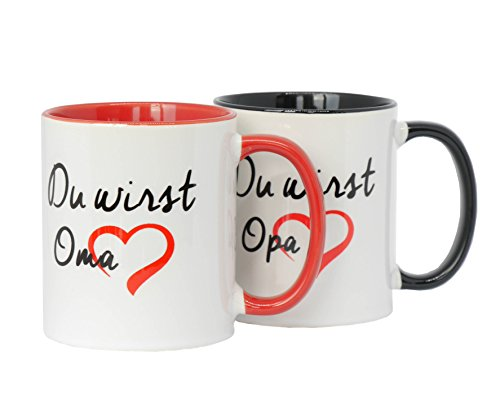 2 Tassen Du wirst Oma + Du wirst Opa als Set im Doppelpack in hochwertiger Qualität und Spülmaschinengeeignet. Beidseitig Bedruckt, eine ganz besonders Nette Art etwas Sagen zu wollen (müssen). Tasse Baby-tassen