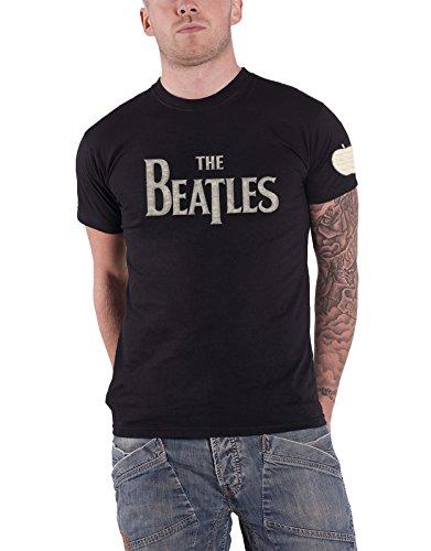 The Beatles T Shirt Drop T Band Logo Applique Nue offiziell Herren - Beatles Short Sleeve T-shirt