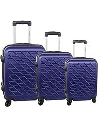3 Maletas rígidas PIERRE CARDIN violeta cabina para viajes S286