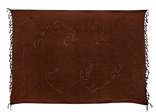 Sarong Handbestickt inkl. Sarongschnalle im Schmetterling Design - Viele Größen und exotische Farben und Muster zur Auswahl - Pareo Dhoti Lunghi Braun