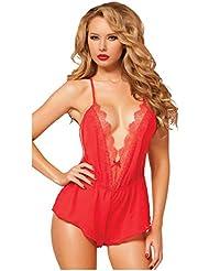 Las mujeres muñeca atractiva,Longra ropa interior del cordón de dormir vestido tanga (Rojo)