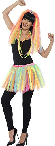 Ladies Rainbow Tutu and Veil Costume Set. Ideal for 80s, Hen Nights, Fun Runs.