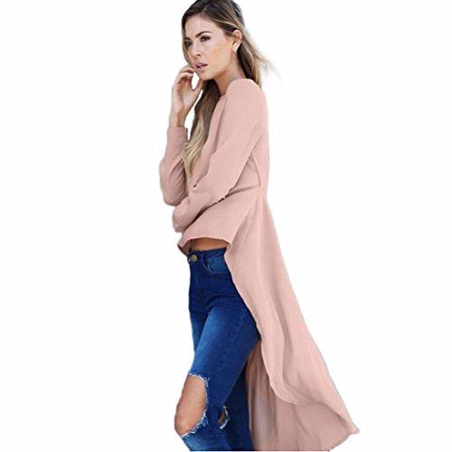 Zarupeng Classico Giacca donna camicia Maniche lunghe Top girocollo camicetta irregolare forcuta Tops (M, rosa)
