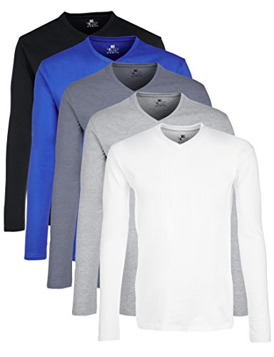 Lower East Herren Langarmshirt mit V-Ausschnitt, 5er Pack, Gr. Large, Mehrfarbig (Weiß/Schwarz/Blau/Grau/Rauchblau)