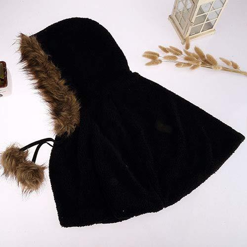 Frauen gestrickte Schal Herbst und Winter Mantel dicken winddichten Hoodie warmen Winter hat weibliche Schulter hat SHU Baumwolle,Black - Hoodie-schal Frauen