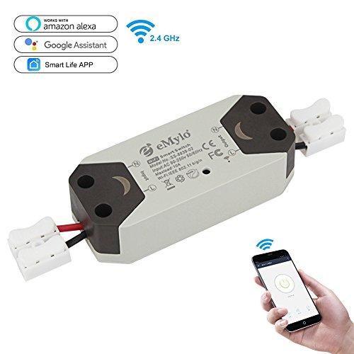 eMylo WiFi Schalter Smart LICHT vorzubeugen Fernbedienung kabellosen Geräten Relais funktioniert mit Alexa und Google Assistant für Haushaltsgeräte Elektrische Via iPhone Android App DIY Smart Home (Gesichts-licht-schalter)