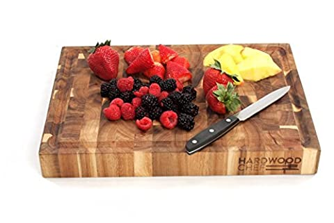 Hardwood Chef Thick End Grain Acacia Wood Butcher Block Cutting Board and Serving Platter with Groove, 16 x 12 x 1¾ in | Reversible | For Chopping and Serving Cheese & Appetizers by Hardwood Chef