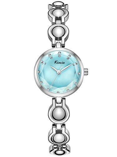 Alienwork Damen-Armbanduhr Quarz Silber mit Edelstahl Metallarmband türkis Strass-Steinen elegant Glitzer