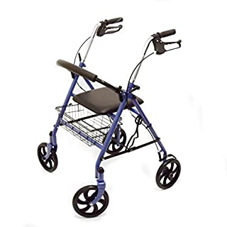 Ability Superstore Blue Jay Lightweight 4 Wheel Rollator with Padded Seat and Basket