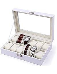Wenzhihua Ver Organizador de Pantalla Caja de Reloj Caja de exhibición 12 Caja de Almacenamiento Caja de Pulsera Blanca Cuero de imitación Bloqueable Exquisito y Duradero