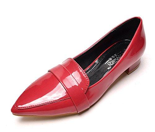 Aisun Damen Lack Blockabsatz Pointed Toe Loafer Schuhe Rot 39 EU