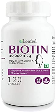 Leafed Biotin 10000mcg Maximum Strength with Zinc, Iron & Vitamin E, A, C, D2 for Hair Skin & Nails -