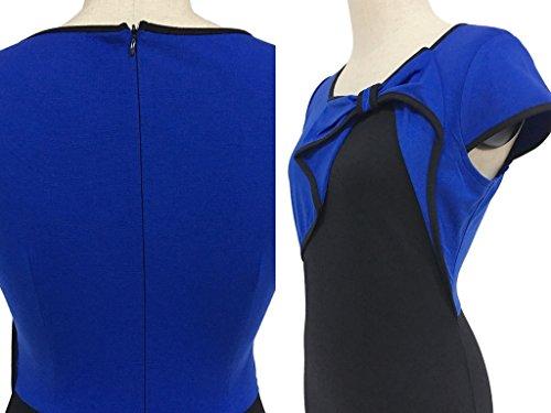 Smile YKK Robe Cérémonie Femme Coton Manche Courte Col Rond Nœud de Papillon Cocktail Mariage Bleu