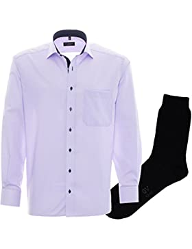 ETERNA Herrenhemd Comfort Fit, violett, Fein Oxford, regulär langarm + 1 Paar hochwertige Socken, Bundle