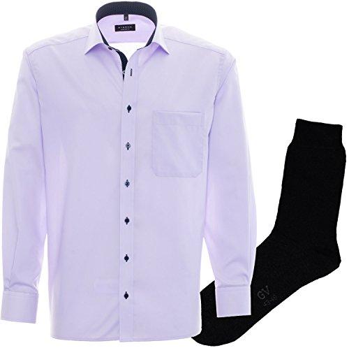 ETERNA Herrenhemd Comfort Fit, violett, Fein Oxford, regulär langarm + 1 Paar hochwertige Socken, Bundle Violett