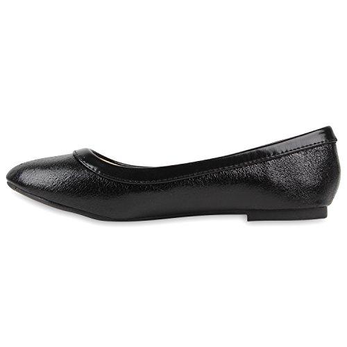 Damen Ballerinas Lack Slipper Flats Schuhe Lederoptik Schwarz Glanz