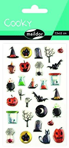 Maildor CY038O Packung mit Stickers Cooky 3D (1 Bogen, 7,5 x 12 cm, ideal zum Dekorieren, Sammeln oder Verschenken, Halloween) 1 Pack