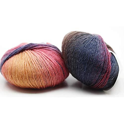 Lungo arcobaleno colore sfumato uncinetto maglieria gomitolo di lana per cappelli sciarpa beanie-geshiglobal 8#