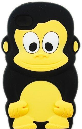 thematys Apple iPhone 4/4S Affe Monkey SCHWARZ Design Schutz-Hülle Silikon Soft Case Etui (4s Affe Iphone)